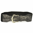 Ladies Stretch Belt with Gray Croco Print Tab