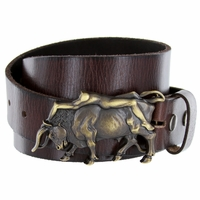 Lady Bull Belt Buckle Casual Jean Leather Belt