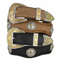 Laredo Longhorn Steer Berry Concho Western Leather Cowboy Belt