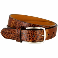 Lejon Alligator Embossed Italian Calfskin Leather Dress Belt LJ-12273