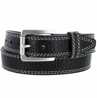 "Lejon Austin Belt Pebble Grained Bison Leather Belt 1-5/8"" Wide Black"
