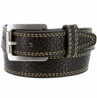 "Lejon Austin Belt Pebble Grained Bison Leather Belt 1-5/8"" Wide-Dark Brown"