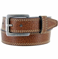 "Lejon Austin Belt Pebble Grained Bison Leather Belt 1-5/8"" Wide Tan"