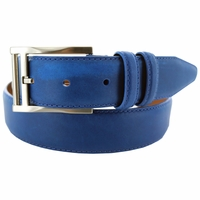 "Lejon Belt 2045 Men's Smooth Leather Dress Belt 1-3/8"" Wide - Blue"