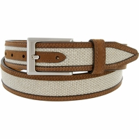 "Lejon Belt Back Nine Suede Edged Webbed Cotton Dress Belt 1-3/8"" wide - Wheat"