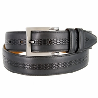 "Lejon Belt Bayside Full Grain Waxy Glove Leather Dress Belt 1-3/8"" Wide Black"