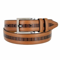 "Lejon Belt Bayside Full Grain Waxy Glove Leather Dress Belt 1-3/8"" Wide Tan"