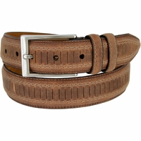 "Lejon Belt Brookline Italian Brushed Leather Dress Belt 1-3/8"" Wide Brown"