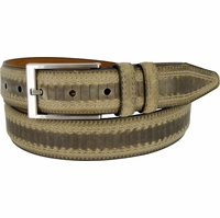 "Lejon Belt Brookline Italian Brushed Leather Dress Belt 1-3/8"" Wide Olive"