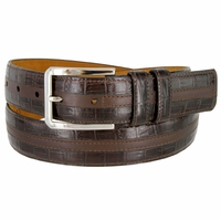 "Lejon Belt Captain's Table Italian Calfskin Leather Dress Belt 1-3/8"" Wide Brown"