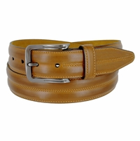 "Lejon Belt Center Club Leather Dress Belt 1-3/8"" Wide Tan Made in USA"