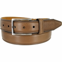 "Lejon Belt Dignitary Milled Full Grain Leather Dress Belt 1-3/8"" Wide Brown"
