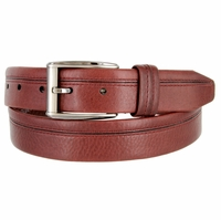 "Lejon Belt Harvard Full Grain Waxy Glove Leather Dress Belt 1-3/8"" Wide Burgundy"