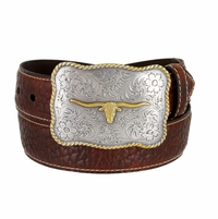 "Lejon Belt Maverick Pebble Grained  Bison Leather Belt 1-1/2"" Wide Brown"