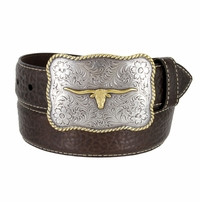 "Lejon Belt Maverick Pebble Grained Bison Leather Belt 1-1/2"" Wide T.Moro(Dark Brown)"