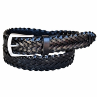 Lejon Belt Men's Leather Braided Dress Belt - Black