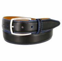 "Lejon Belt Novara Grain Steerhide Leather Dress Belt 1-3/8"" Wide Black"