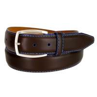 "Lejon Belt Novara Grain Steerhide Leather Dress Belt 1-3/8"" Wide Brown"