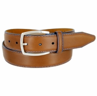 "Lejon Belt Novara Grain Steerhide Leather Dress Belt 1-3/8"" Wide Tan"