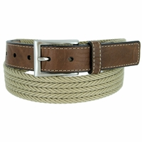 "Lejon Belt On Par Leather Tipped Braided Cotton Dress Belt 1-3/8"" Beige"