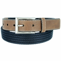 "Lejon Belt On Par Leather Tipped Braided Cotton Dress Belt 1-3/8"" Navy"