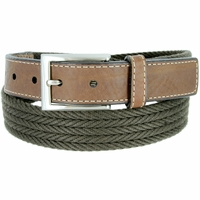 "Lejon Belt On Par Leather Tipped Braided Cotton Dress Belt 1-3/8"" Olive"