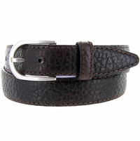 "Lejon Belt Pinnacle Pebble Grained  Bison Leather Belt 1-3/8"" Wide Made in USA"
