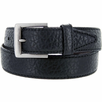 "Lejon Belt Poni Pebble Grained Bison Leather Belt 1-1/2"" Wide Black Made in USA"