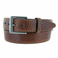 "Lejon Belt Poni Pebble Grained Bison Leather Belt 1-1/2"" Wide Tan Made in USA"