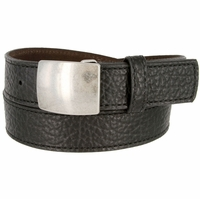 Lejon Belt Pow Pebble Grained Bison Leather Belt Black Made in USA