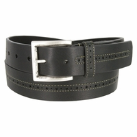 Lejon Center Stitched Perforated Oil Tanned Harness Leather Dress Belt - Black