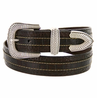 "Lejon Coloma Belt Italian Calfskin Embossed Croco Bison Leather Belt 1-1/2"" Wide Brown"