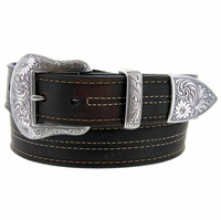 "Lejon El Dorado Western Belt Genuine Leather Belt 1-1/2"" Wide Brown Made in USA"
