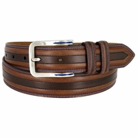 Lejon Glove Leather Double Stitched Edges Center Line Dress Belt - Brown