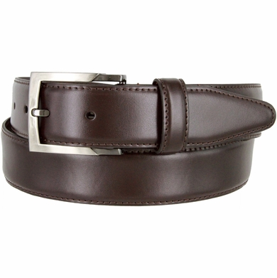 """MA133860 Genuine Italian Calfskin Leather Dress Casual Belt 1-3/8"""" (35mm) wide with Nickel Plated Buckle"""