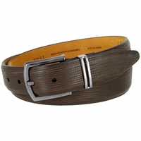 Lejon Natural Tree Embossed Genuine Italian Leather Dress Belt - Brown
