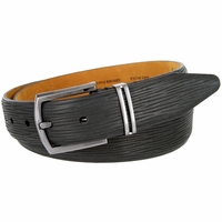Lejon Natural Tree Embossed Genuine Italian Leather Dress Belt - Charcoal