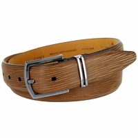 Lejon Natural Tree Embossed Genuine Italian Leather Dress Belt - Tan