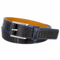 Lejon Single Blue Stitching Alligator Embossed Leather Dress Belt