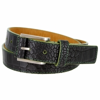 Lejon Single Green Stitching Alligator Embossed Leather Dress Belt