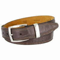 Lejon Triple Stitched Alligator Embossed Italian Calfskin Casual Dress Belt - Coffee