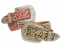 Leopard Crystal Rhinestone Hair On Western Womens belt $50.00