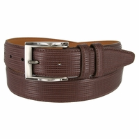 "Lejon Belt 1233 Men's Embossed  Leather Dress Belt 1-3/8"" Wide Made In USA - Brown"