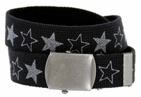 LL1160 Star Canvas Military Web Punk Belt 1.25 inch wide  - Black