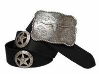 Longhorn Silver Star Western Leather Concho Belt