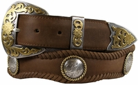 Lord Jim Western Leather Western Conchos Engraved Belt $49.95