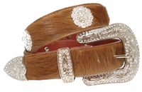 "Lori Hair On Leather Belt  Swarovski Rhinestone Crystal Conchos 1 1/2"" Wide"