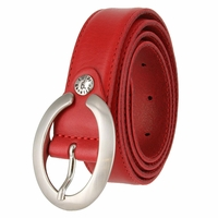 "2490/30 1-1/8"" Genuine Leather Belt Made In Italy (Red)"