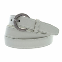 "2502/26 1"" Wide Genuine Leather Belt Made In Italy (White)"