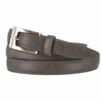 "2509/19 Stitched Women's Skinny 3/4""  Genuine Leather Dress Belt Made in Italy (Grey)"